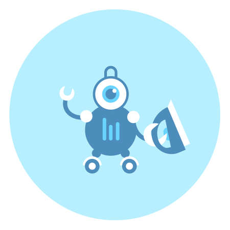 Robot Holding Iron Icon Modern Housework Technology Vector Illustration Illustration