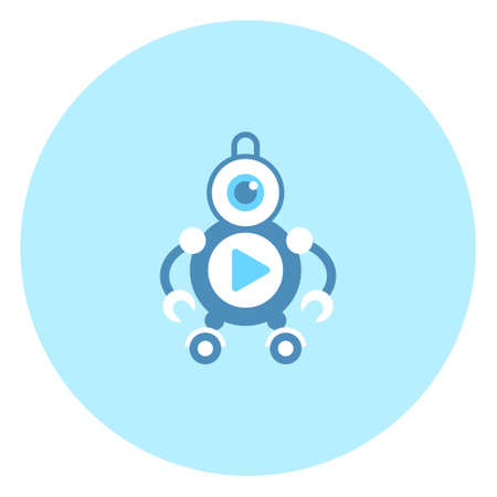 Robot Video Player Icon Modern Robotic Technology Vector Illustration