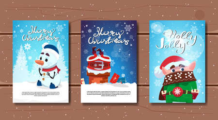 Set Of Merry Christmas Banners On Wooden Background Happy New Year Greeing Cards Collection Flat Vector Illustration