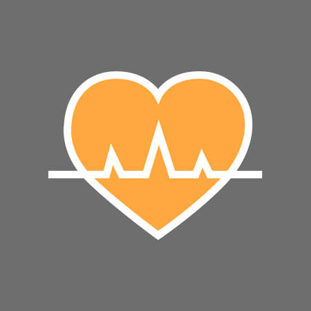 electrocardiograma: Heart With Pulse Beat Rate Icon Flat Vector Illustration Vectores