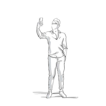Man in full length holding mobile phone, taking picture of self, in sketched, black and white, outlined illustration. Illustration