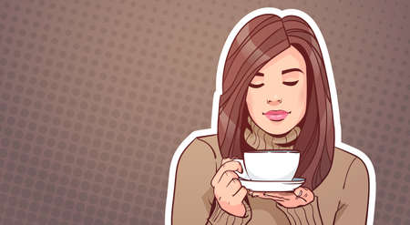 Portrait Of Beautiful Woman Holding Cup With Hot Beverage Over Vintage Pop Art Illustration