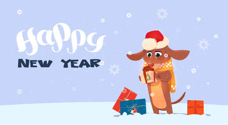 Happy New Year 2018 background with cute dog wearing Santa hat.