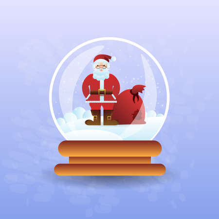 Santa Claus With Bag In Christmas Magic Ball Flat Vector Illustration Illustration
