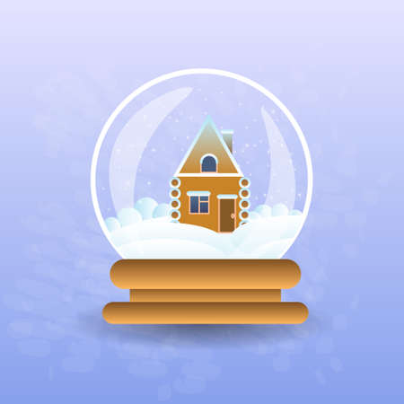 Gingerbread House Covered With Snow In Christmas Magic Ball Flat Vector Illustration Illustration