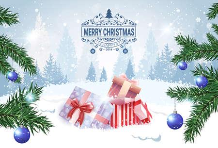 Kerst banner vakantie kaart aanwezig vakken in sneeuw Over winter bos weergave vectorillustratie