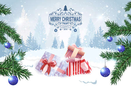 Christmas Banner Holiday Card Present Boxes In Snow Over Winter Forest View Vector Illustration