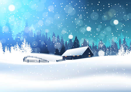 Beautiful Winter Landscape With House In Snowy Forest Banner Flat Vector Illustration