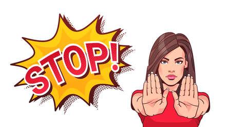 Kobieta Gestykuluje Nie Lub Stop Znak Pokazuje Podniesione Dłonie Ilustracji Wektorowych