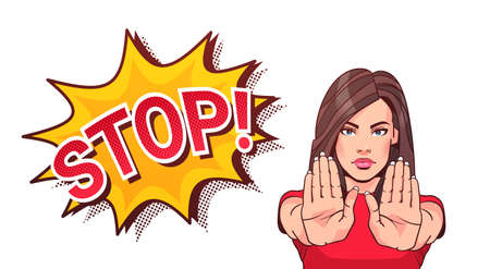 Woman Gesturing No Or Stop Sign Showing Raised Palms Vector Illustration Stock fotó - 90147083