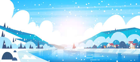Winter Landscape Of Small Village Houses On Banks Of Frozen River And Mountain Hills Covered With Snow Flat Vector Illustration