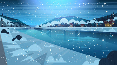 Frozen River Night View With Small Country Houses On Mountains Hills Winter Landscape Concept Flat Vector Illustration