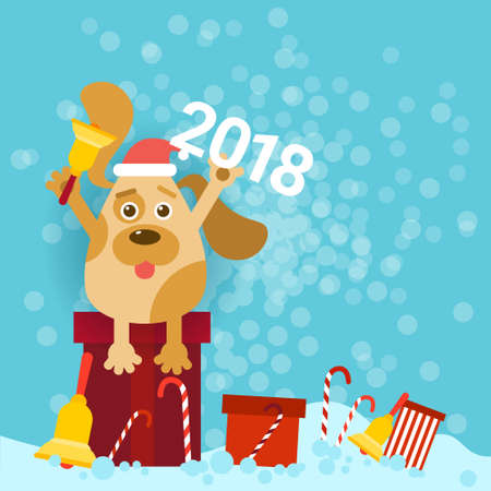 2018 New Year Poster With Dog Holding Bell And Wearing Santa Hat Sit On Gifts Vector Illustration