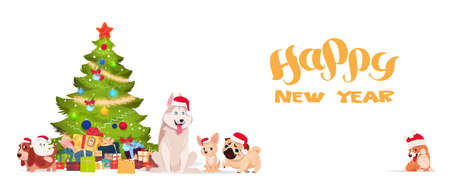 Christmas Tree And Cute Dogs In Santa Hats On White Background Happy New Year 2018 Banner Holiday Greeting Poster Flat Vector Illustration