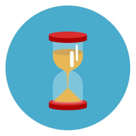 Sand Watch Icon Web Button On Round Blue Background Flat Vector Illustration Illustration