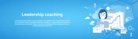 Leadership Coaching Web Horizontal Banner With Copy Space On Blue Background Vector Illustration Çizim