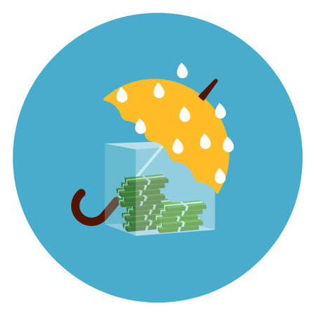 Umbrella Protecting Money From Rain Icon Web Button On Round Blue Background Flat Vector Illustration