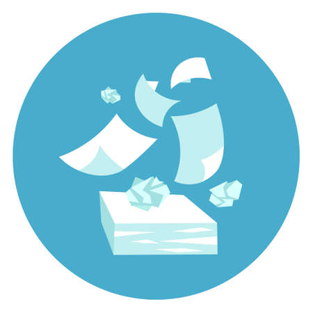 Papers Stack Paperwork Icon Web Button On Round Blue Background Flat Vector Illustration