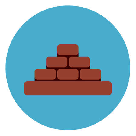 Heap Of Brick Blocks Icon Web Button On Round Blue Background Flat Vector Illustration