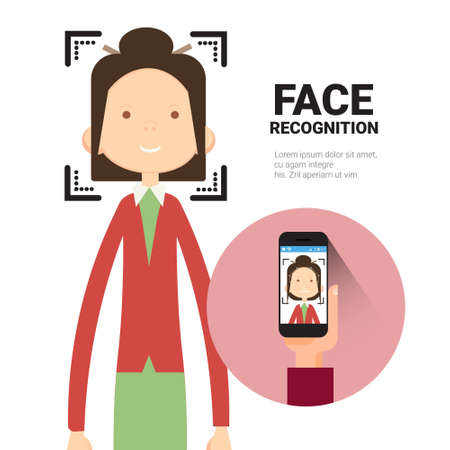 Face Recognition Hand Holding Smart Phone Scanning Woman Modern Biometrical Identification System Concept Vector Illustration
