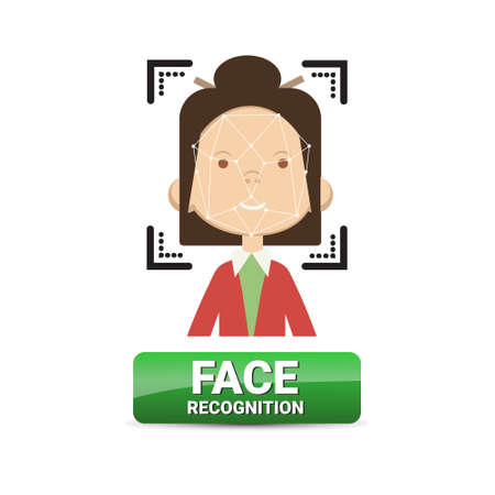 Face Recognition Button Biometrical Identification On Female Face Access Control Technology Concept Vector Illustration