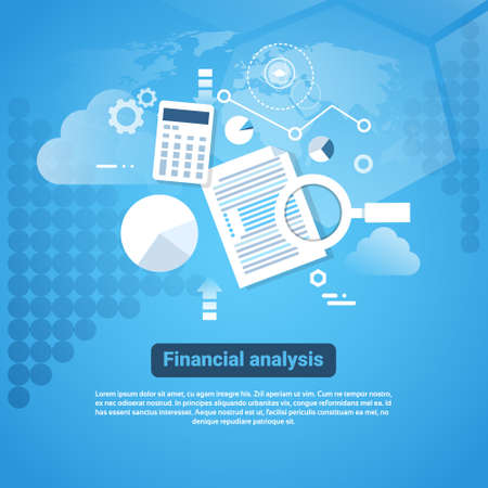 Insegna di web del modello con l'illustrazione piana di vettore di concetto di analisi finanziaria dello spazio della copia