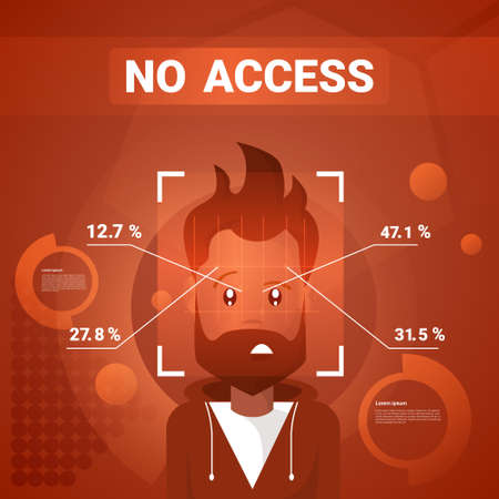 Man Getting No Access After Face Identification Scanning Modern Technology Of Biometrical Recognition Concept Vector Illustration