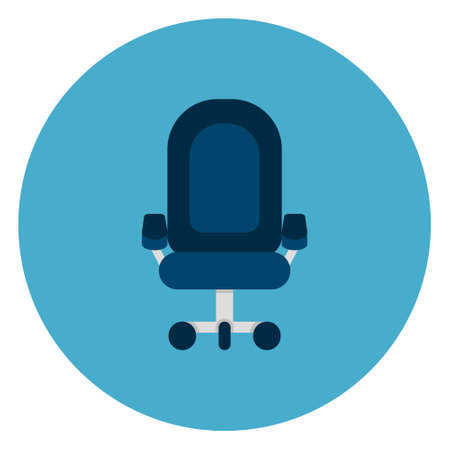 Office Chair Icon Web Button On Round Blue Background Flat Vector Illustration