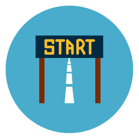 Start Race Icon Web Button On Round Blue Background Flat Vector Illustration