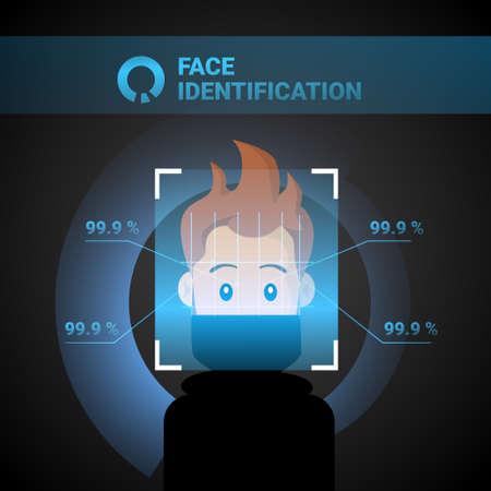 Système d'identification du visage Scan Man Technologie de contrôle d'accès Reconnaissance biométrique Concept Illustration vectorielle