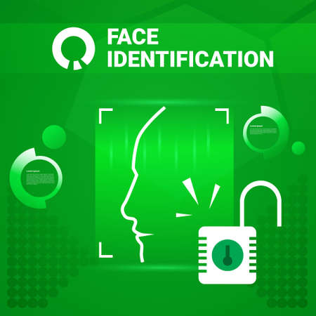 User Getting Access After Face Identification Scanning Modern Technology Of Biometrical Recognition Concept Vector Illustration