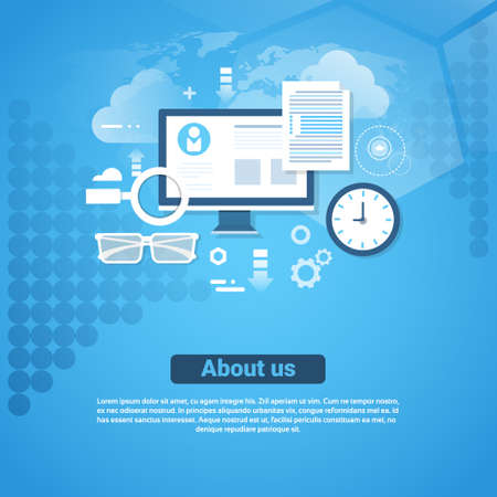 About Us Contact Information Template Web Banner With Copy Space Flat Vector Illustration 일러스트