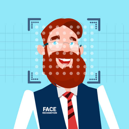 Businessman Face Identification Technology Scannig Man Access Control System Biometrical Recognition Concept Vector Illustration Illustration
