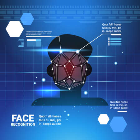 Face Identification System Scannig Man Access Control Modern Technology Biometrical Recognition Concept Vector Illustration Çizim