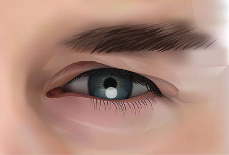 Realistic Eye Of Caucasian Male Person Closeup Vector Illustration