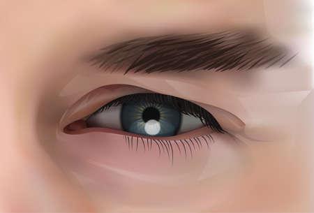 Realistic Eye Of Caucasian Male Person Closeup Vector Illustration