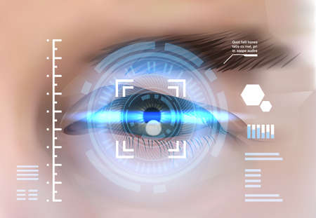 Eye Retina Scanning Recognition System Biometric Identification Technology Access Control Concept Vector Illustration