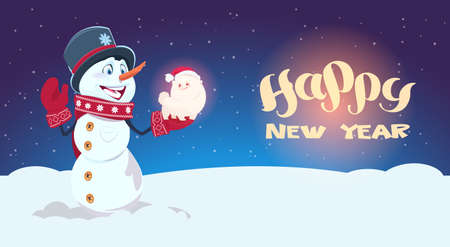 Snowman Hold Cute Dog Symbol Of New Year 2018 Decoration Holiday Greeting Card Flat Vector Illustration