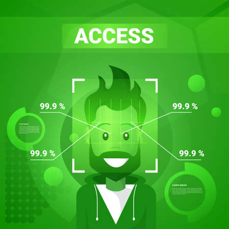 Man Getting Access After Face Identification Scanning Modern Technology Of Biometrical Recognition Concept Vector Illustration Çizim