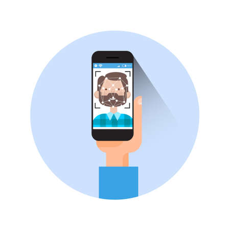 Icon Hand Holding Smart Phone Scanning Man Face Modern Identification System Concept Vector Illustration Illustration