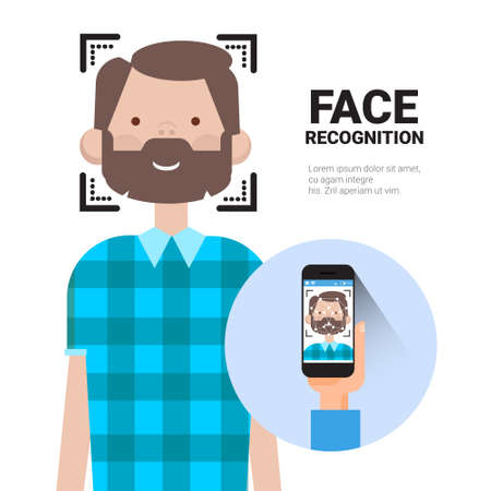 Face Recognition Hand Holding Smart Phone Scanning Man Modern Biometrical Identification System Concept Vector Illustration Vettoriali