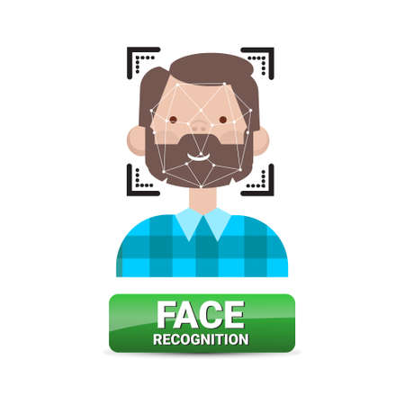 Face Recognition Button Biometrical Identification On Male Face Access Control Technology Concept Vector Illustration Illustration
