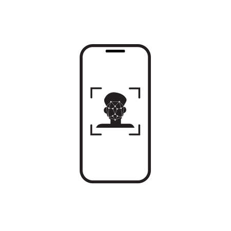Face Scan Recognition System Smart Phone Icon Vector Illustration