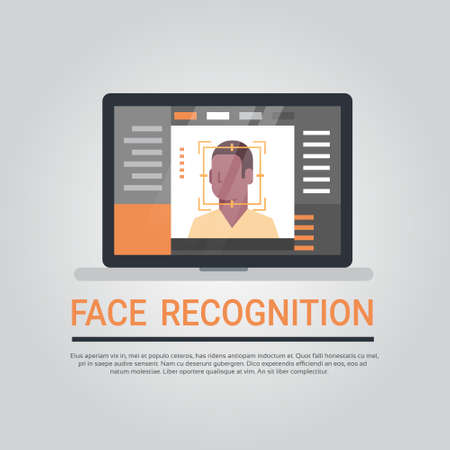 Face Recognition Technology Laptop Computer Security System Scanning African American Male User Biometric Identification Concept Vector Illustration