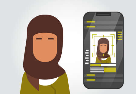 Smart Phone Security System Scanning Muslim Woman User Biometric Identification Concept Face Recognition Technology Vector Illustration