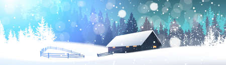 Winter landscape with house in snowy forest. Horizontal banner, vector illustration.