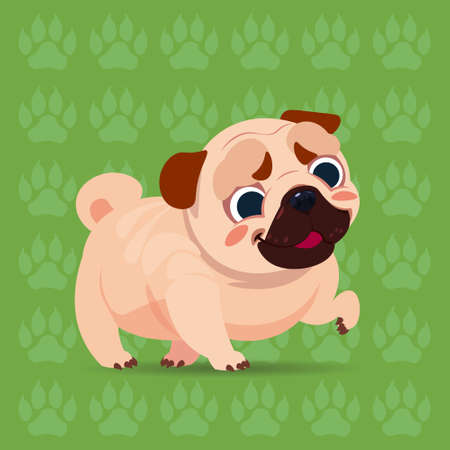 Pug dog, happy cartoon sitting over footprints background. Cute pet, vector illustration.