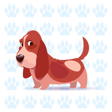 Dog hound. happy cartoon sitting over footprints background. Cute pet, vector illustration.