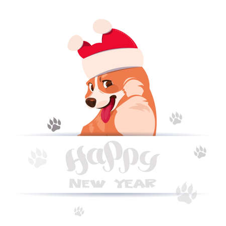 Happy New Year 2018 Greeting Card Design With Lettering And Corgi Dog Wearing Santa Hat Over Foot Prints On White Background Flat Vector Illustration