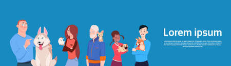 Group Of Different People Holding Cute Dogs Owners With Pets Flat Vector Illustration